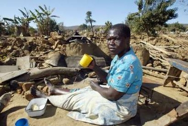 Maidie Chimbwe's Porta Farm home is bulldozed to rubble