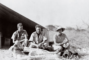 Louis Leakey (center) at Olduvia Gorge